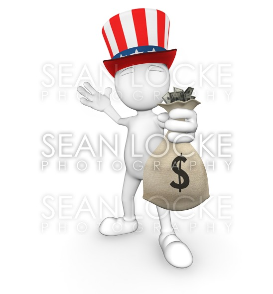 3d Guy: Uncle Sam with Money Stock Photography Content by Sean Locke