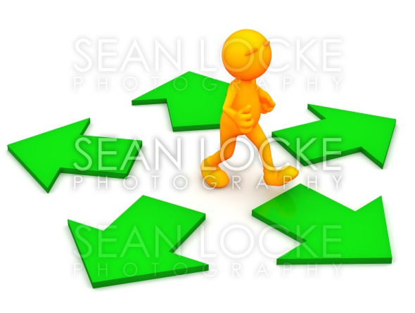 3d Guy: Deciding to Go A Certain Direction Stock Photography Content by Sean Locke