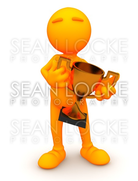 3d Guy: Man Holding Bronze Trophy Stock Photography Content by Sean Locke