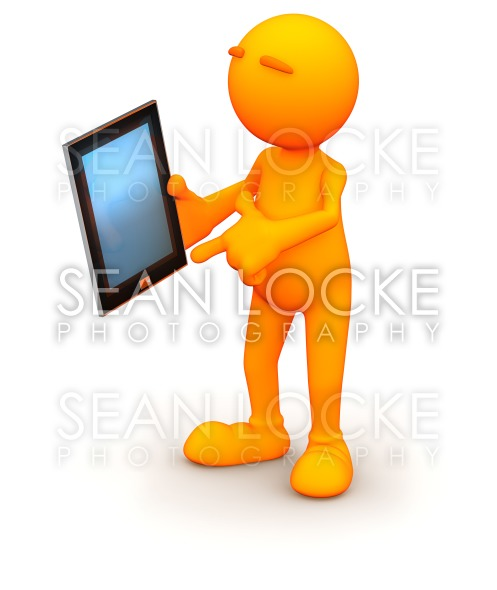 3d Guy: Pointing to Tablet Computer Stock Photography Content by Sean Locke