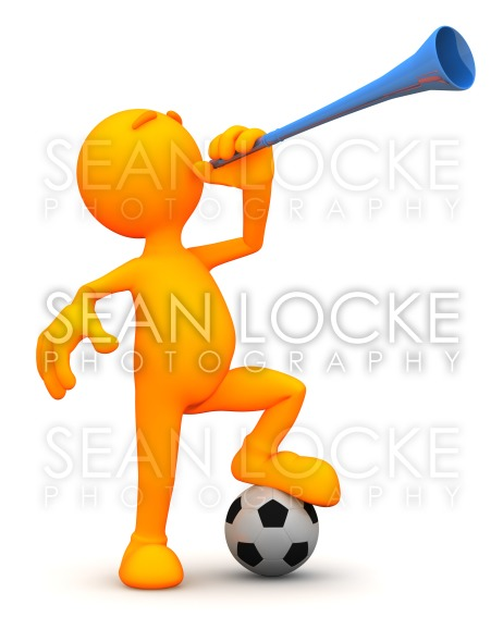 3d Guy: Blowing a Vuvuzela Stock Photography Content by Sean Locke