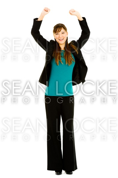 Occupations: Excited Busnesswoman Cheering Stock Photography Content by Sean Locke