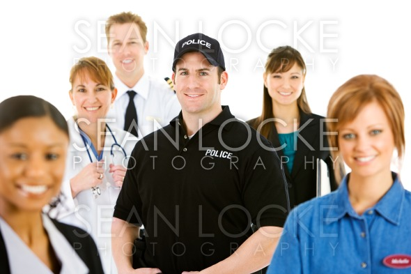 Occupations: Cheerful Policeman at Center of Group Stock Photography Content by Sean Locke