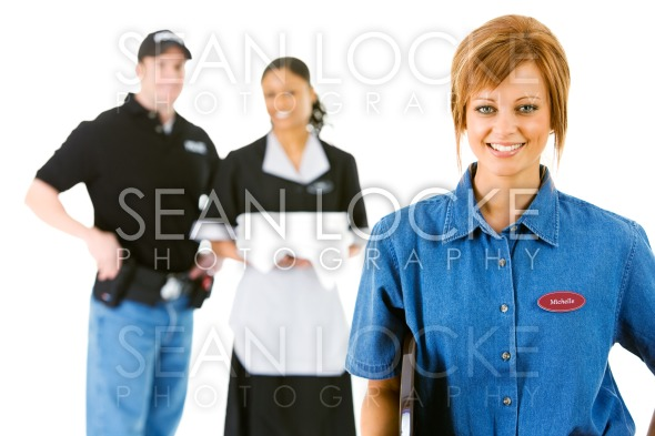 Occupations: Happy Server with Others Behind Stock Photography Content by Sean Locke
