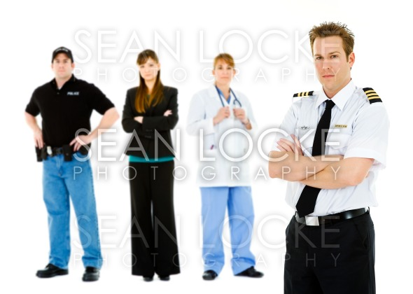Occupations: Angry Pilot Leads Concerned Group Stock Photography Content by Sean Locke