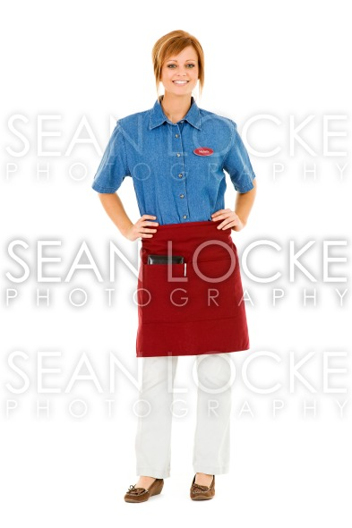 Occupations: Cheerful Server Looks at Camera Stock Photography Content by Sean Locke