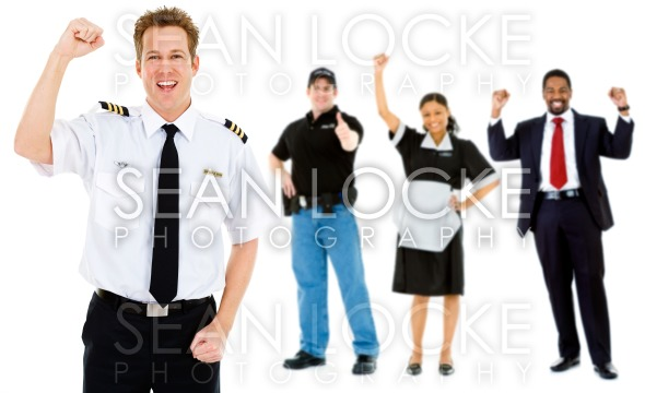 Occupations: Pilot Cheers with Group of Employees Stock Photography Content by Sean Locke