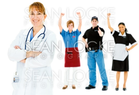 Occupations: Confident Doctor Leads Group Stock Photography Content by Sean Locke