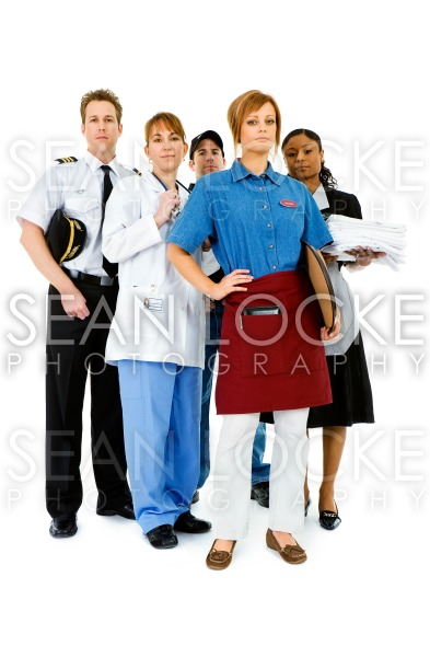 Occupations: Serious Waitress Leads Group Stock Photography Content by Sean Locke