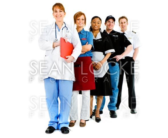 Occupations: Variety of Jobs in a Line Stock Photography Content by Sean Locke