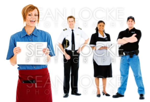 Occupations: Waitress Holds Up Blank Sign Stock Photography Content by Sean Locke