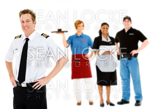 Occupations: Cheerful Pilot Stands With Group of Employees Stock Photography Content by Sean Locke