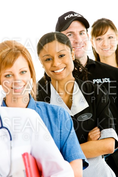 Occupations: Cheerful Housekeeper with Other Occupations Stock Photography Content by Sean Locke