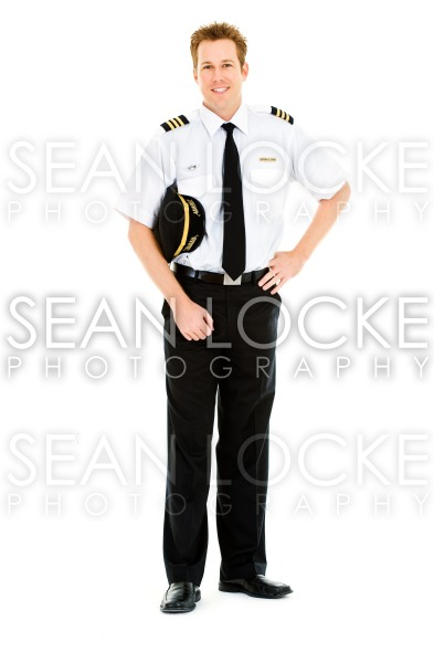 Occupations: Cheerful Pilot with Cap Stock Photography Content by Sean Locke