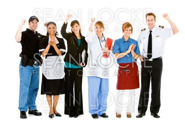 Occupations: Group of Various Businesspeople Cheering Stock Photography Content by Sean Locke