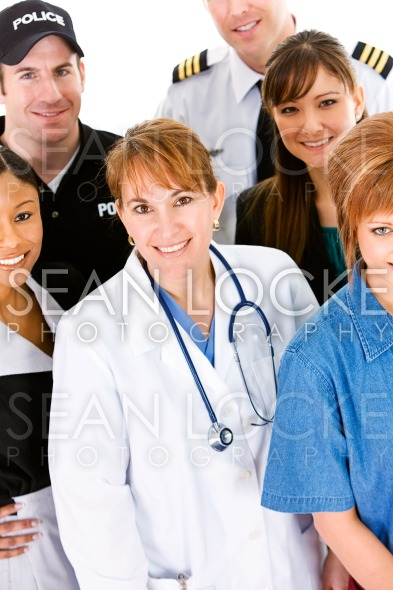 Occupations: Doctor in Center of Group of Occupations Stock Photography Content by Sean Locke