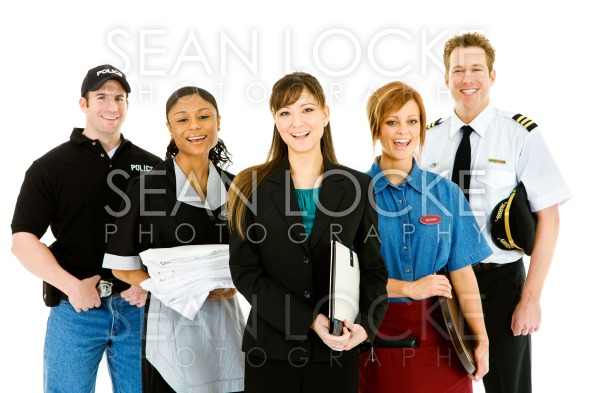 Occupations: Group of Cheerful People in Various Occupations Stock Photography Content by Sean Locke