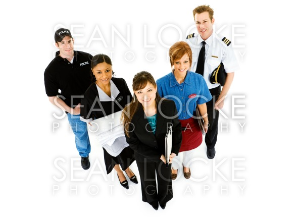 Occupations: Variety of Occupations Standing Together Stock Photography Content by Sean Locke