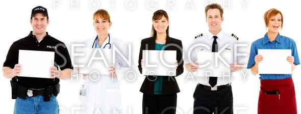 Occupations: Employees All Hold Up Blank Signs Stock Photography Content by Sean Locke