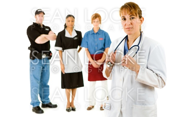 Occupations: Doctor Leads Concerned Group of Various Occupations Stock Photography Content by Sean Locke