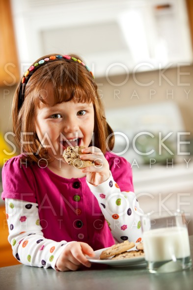 Kitchen Girl: Milk and Cookie Snack Stock Photography Content by Sean Locke
