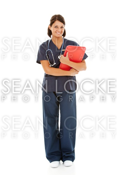Doctors: Female Nurse with Clipboard Stock Photography Content by Sean Locke