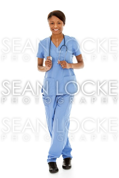 Doctors: Female Nurse on White Background Stock Photography Content by Sean Locke
