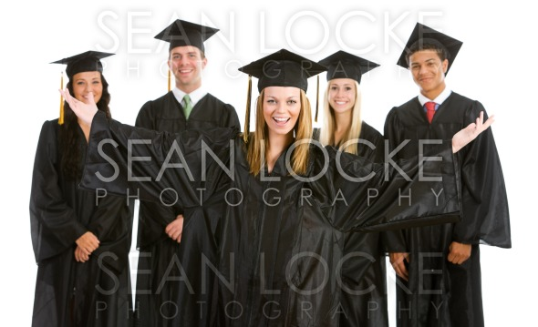 Graduation: Excited Girl with other Graduates Behind Stock Photography Content by Sean Locke