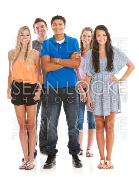 Teens: Male in Front of Group of Teens Stock Photography Content by Sean Locke