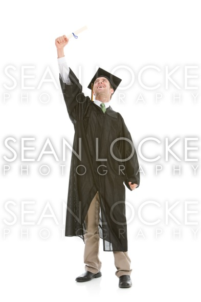 Graduation: Confident Graduate Reaches for the Sky Stock Photography Content by Sean Locke