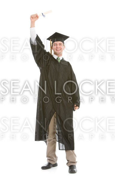 Graduation: Single Graduate Holds Diploma Up Stock Photography Content by Sean Locke