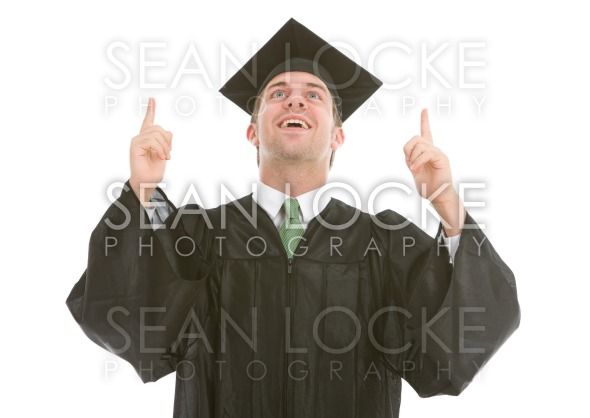 Graduation: Graduate Points to Area Overhead Stock Photography Content by Sean Locke