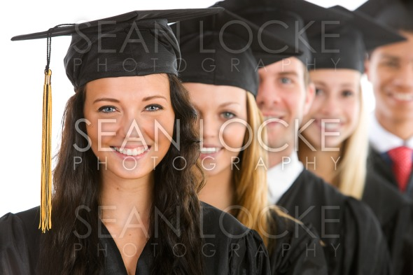 Graduation: Female Graduate Leads Line of Students Stock Photography Content by Sean Locke