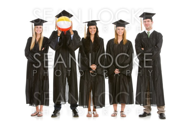 Graduation: One Graduate Hides Behind Beach Ball Stock Photography Content by Sean Locke