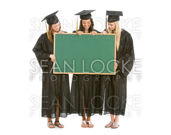 Graduation: Group of Girl Graduates Hold Blank Chalkboard Stock Photography Content by Sean Locke