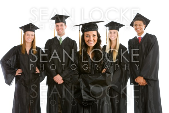 Graduation: Pretty Female Graduate with Others Behind Stock Photography Content by Sean Locke