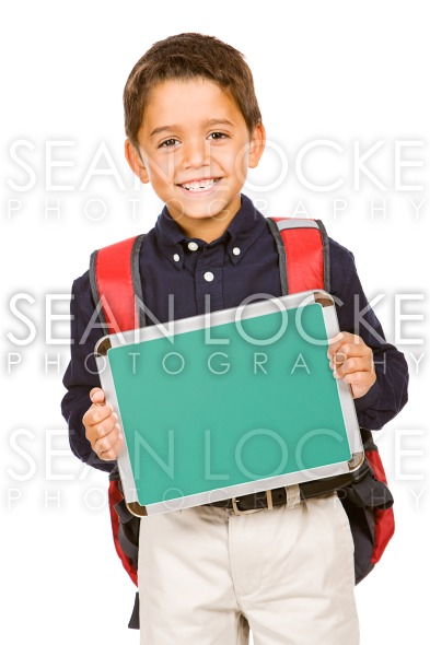 Student: Boy Holds Blank Chalkboard Stock Photography Content by Sean Locke