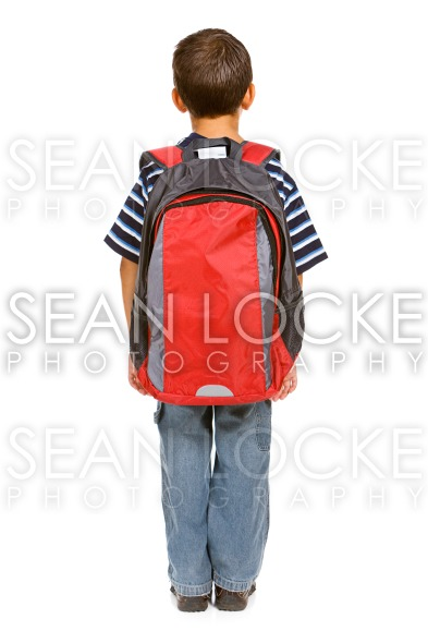 Student: Rear View of Boy with Backpack Stock Photography Content by Sean Locke