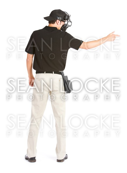 Baseball: Umpire Calls Strike Rear View Stock Photography Content by Sean Locke