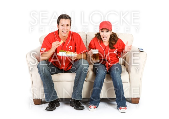 Baseball: Friends Anxiously Watching Game Stock Photography Content by Sean Locke