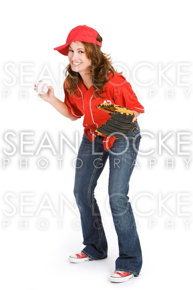 Baseball: Woman Ready to Play Baseball Stock Photography Content by Sean Locke