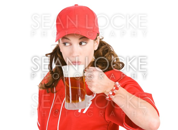 Baseball: Taking a Drink of Beer Stock Photography Content by Sean Locke