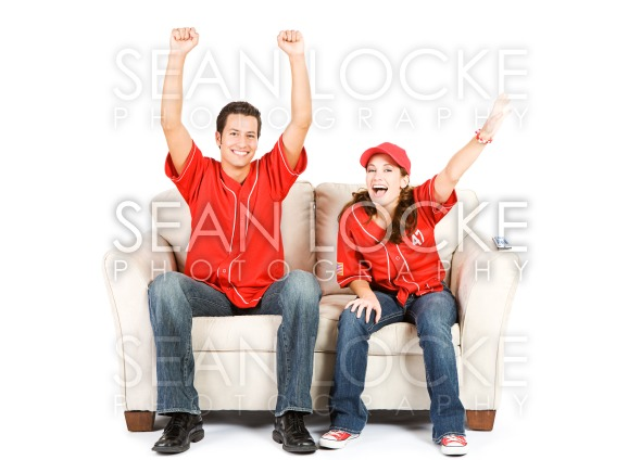 Baseball: Two Fans on Couch and Cheering Stock Photography Content by Sean Locke