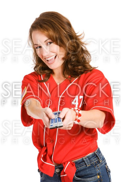 Baseball: Woman Changing Channels Stock Photography Content by Sean Locke