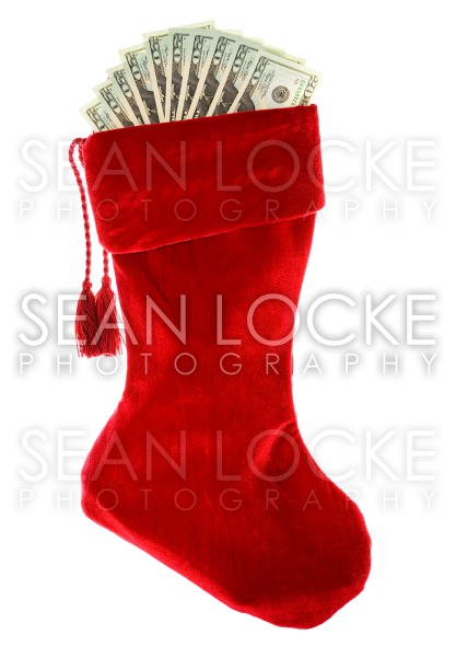 Christmas: Christmas Stocking with Money Stock Photography Content by Sean Locke
