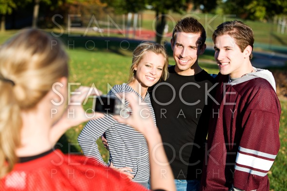 Football: Friends Have Picture Taken Stock Photography Content by Sean Locke