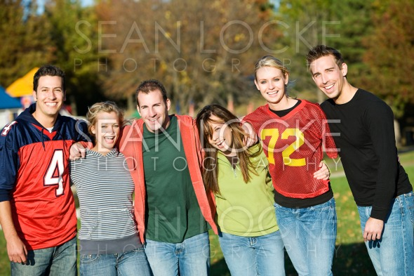 Football: Group of Friends on an Autumn Day Stock Photography Content by Sean Locke