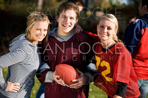 Football: Friends Ready to Play Game Stock Photography Content by Sean Locke