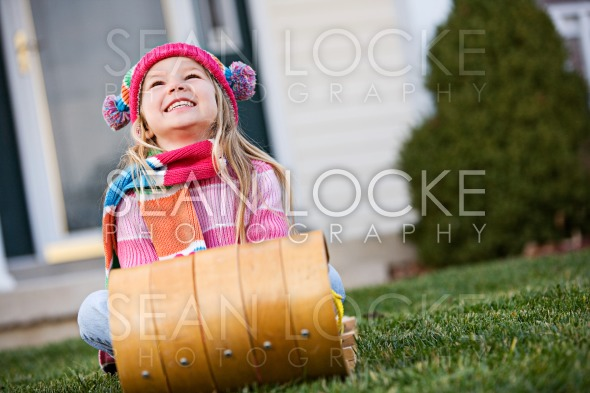 Winter: Little Girl Wishing For Snow Stock Photography Content by Sean Locke