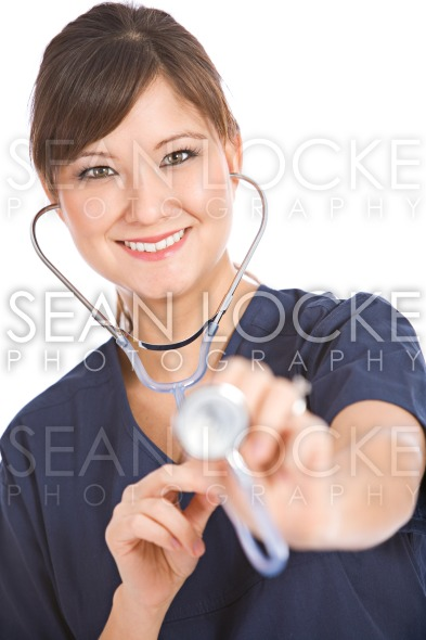 Nurse: Nurse with Stethoscope Looks at Camera Stock Photography Content by Sean Locke